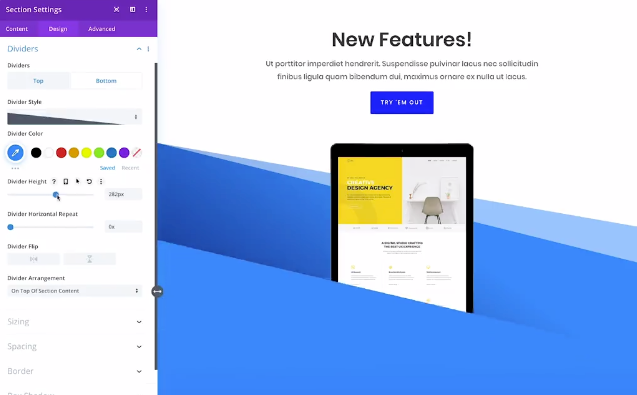 Drag and drop interface example on Divi