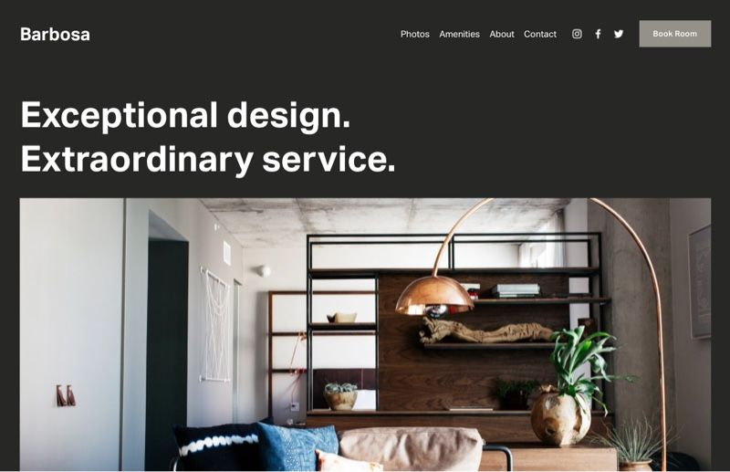 Squarespace vacation rental template