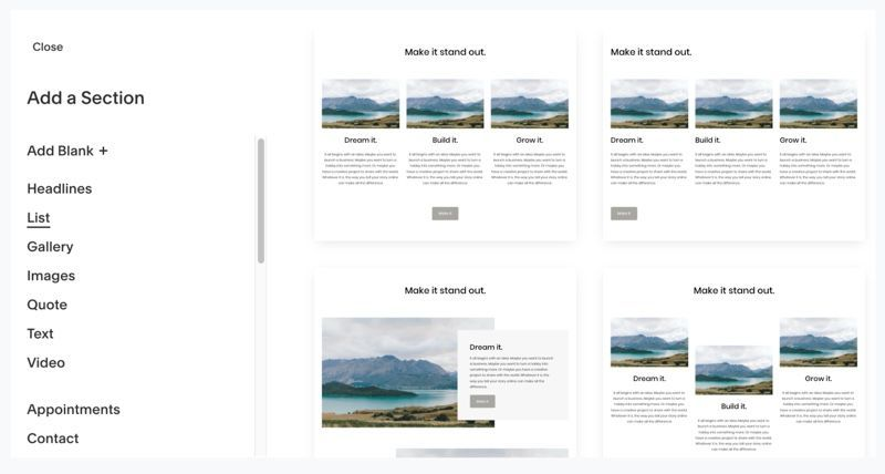 Adding a list section in SquareSpace