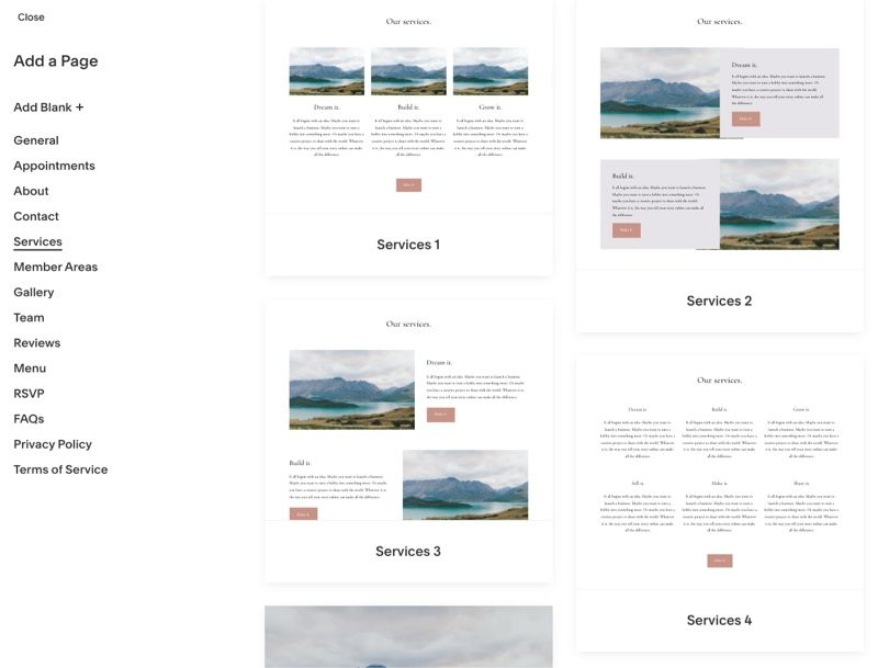 Squarespace layout