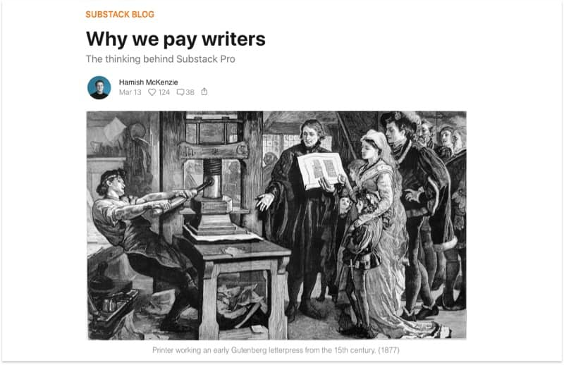 Substack blog - Why they pay writer