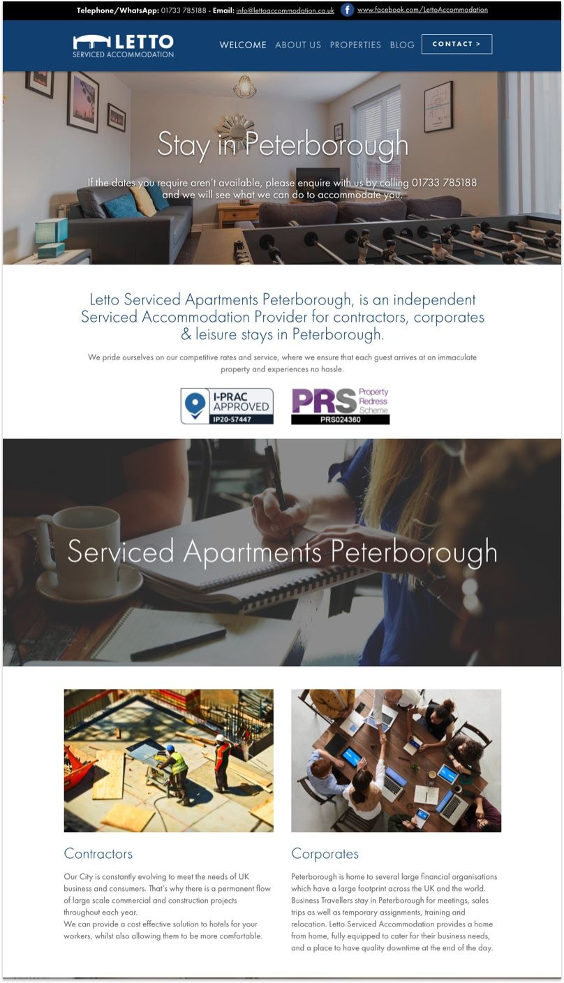 Letto Serviced Accommodation Website