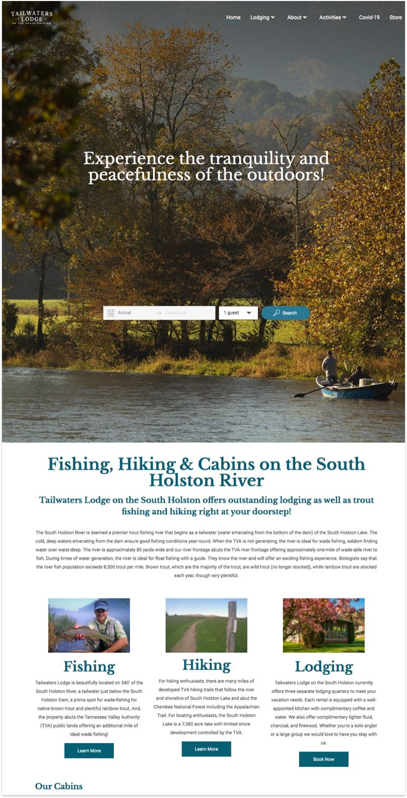 Tailwaters Lodge Website